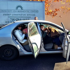 Volunteers driving to Rockaway