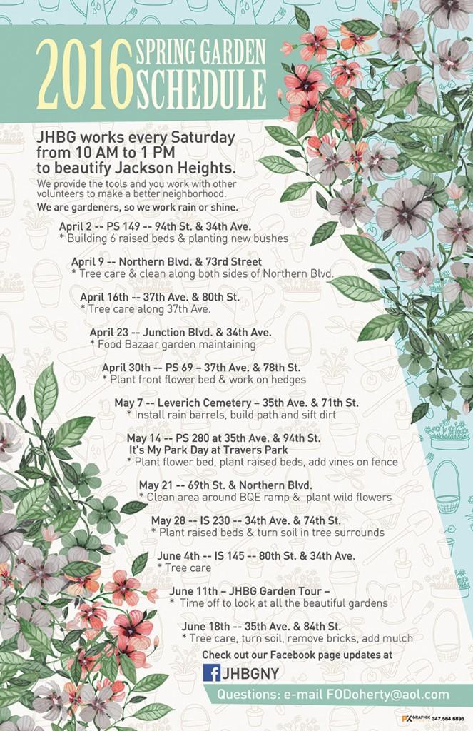 2016 Spring Garden Schedule